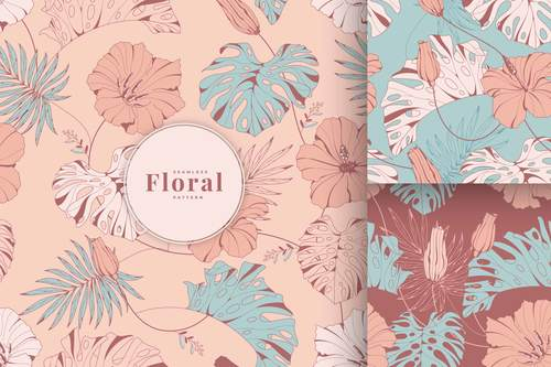 Vintage tropical floral pattern vector