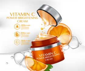 Vitamin c brightening cream advertisement vector