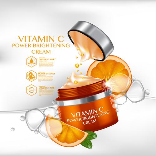 Vitamin c brightening cream advertisement vector
