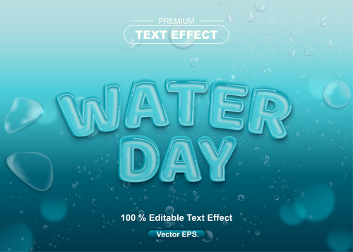 Water Day editable text effect vector