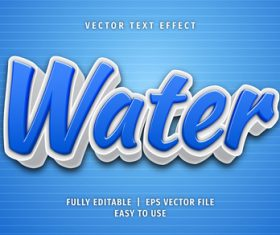 Water text 3d style text effect vector