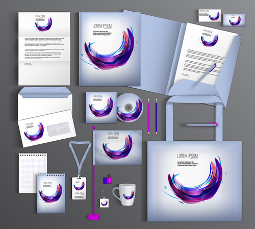 Watercolor cover corporate identity stationery collection vector