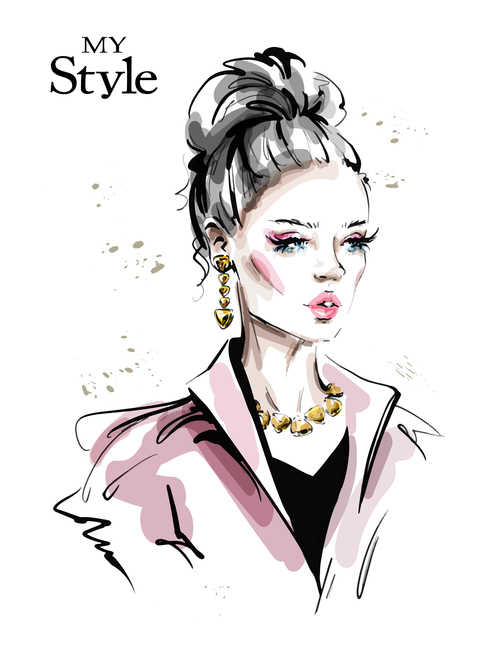 Watercolor illustration vector of woman wearing gold jewelry