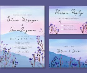 Watercolor invitation with misty purple florals and mountain landscape vector