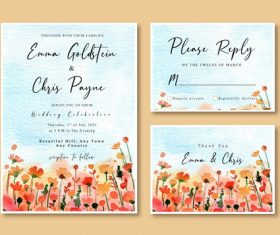 Watercolor nature cover wedding invitation card vector