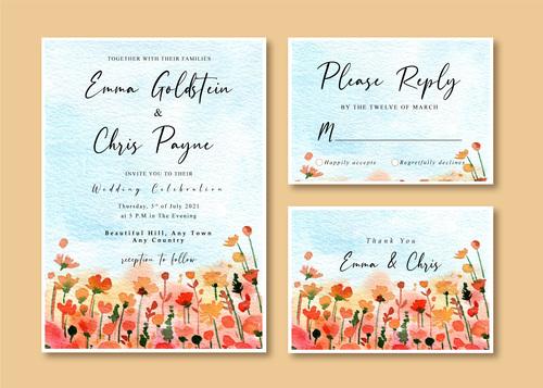 Watercolor nature cover wedding invitation card vector