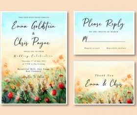 Watercolor wedding invitation card with beautiful rose garden landscape vector