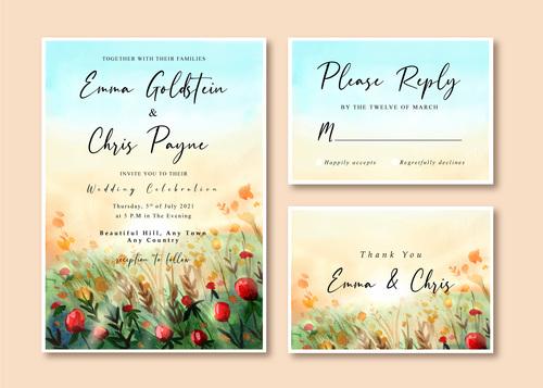 Watercolor wedding invitation card with beautiful rose garden landscape vector