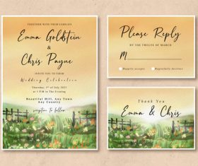 Watercolor wedding invitation card with sunrise in the grass field vector