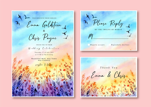 Watercolor wedding invitation card with sunset landscape and birds vector