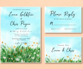 Watercolor wedding invitation card with watercolor daisy grass field landscape vector
