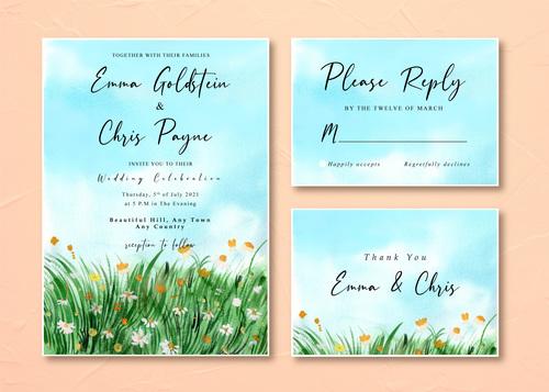 Watercolor wedding invitation card with watercolor daisy grass field landscape vector