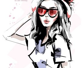 Watercolor young fashion girl vector