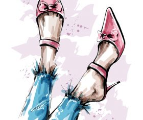 Wearing beautiful shoes watercolor illustration vector