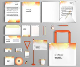 White and orange corporate identity stationery collection vector