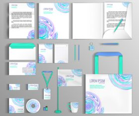 White background corporate color identity collection vector