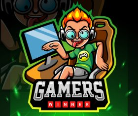 Winner gamers game emblem design vector