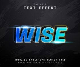 Wise text 3d blue gradient text effect vector