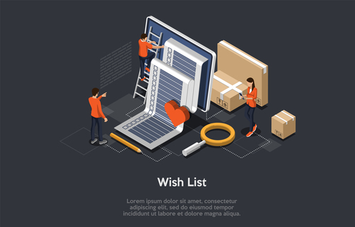 Wish list mobile shopping concept vector