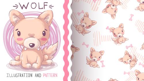 Wolf cartoon vector seamless pattern