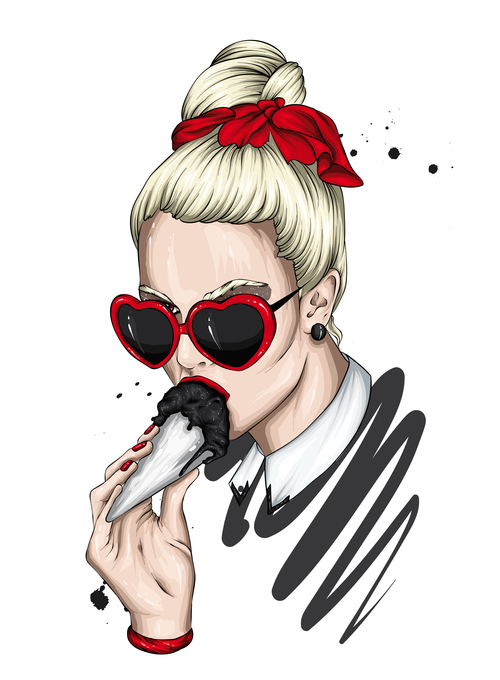 Woman eating ice cream vector