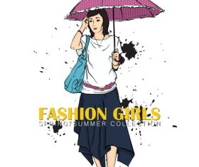 Women holding umbrellas vector
