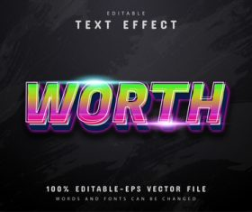 Worth text 3d gradient style text effect vector