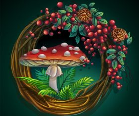 Wreath of vines and leaves with amanita mushroom vector