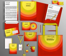 Yellow and red cover corporate identity stationery collection vector