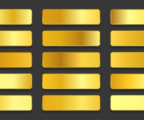 Yellow gold gradients metallic gradients set vector