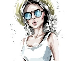Young fashion girl hand drawn vector