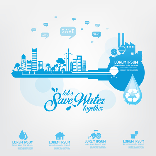 lets save water infographic vector