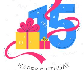 15 years old birthday illustration vector