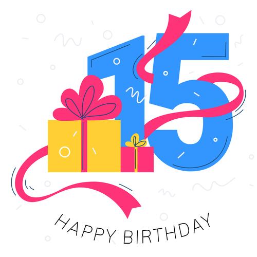 15 years old birthday illustration vector