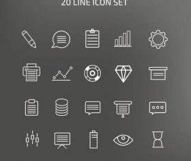 20 Line icons vector