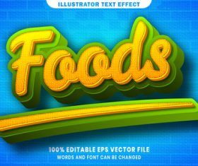 3d Foods editable text style effect vector