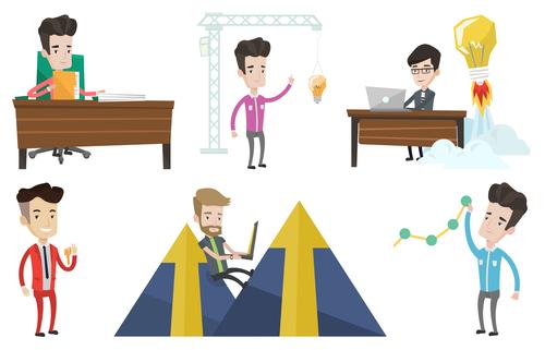 Abstract business man cartoon illustration vector