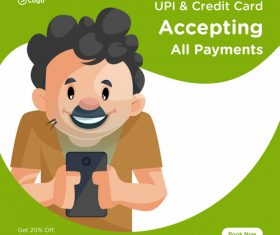 Acceptiing all payments cartoon illustration vector