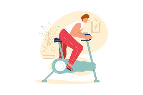 Aerobic exercise cartoon illustration vector