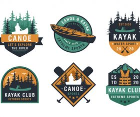 Afting kayaking paddling canoeing camp logo vector