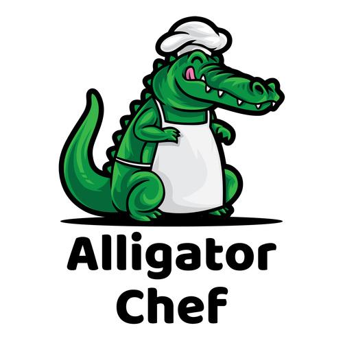 Alligator chef mascot logo vector