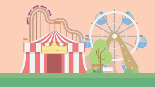 Amusement park illustration background vector
