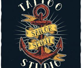 Anchor tattoo illustration vector
