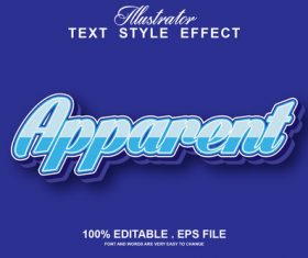 Apparent text style effect vector
