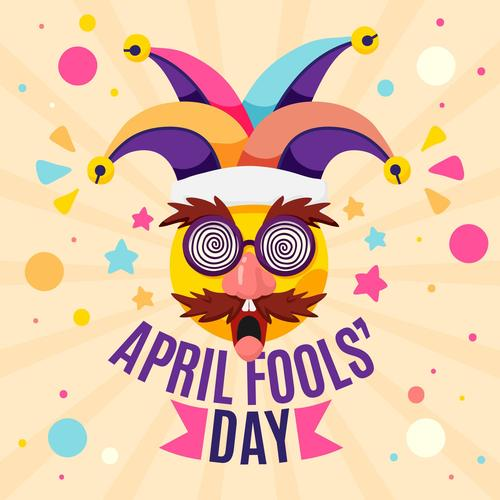April 1 fools day cartoon vector