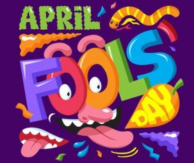 April fools day element cartoon vector