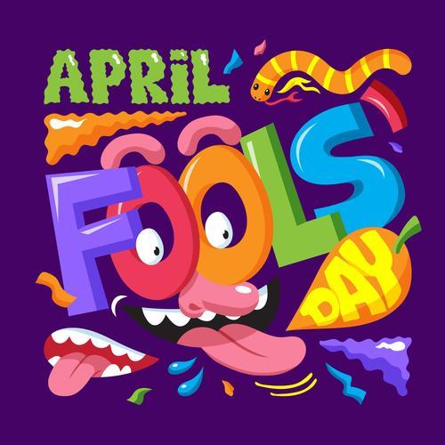 April fools day element cartoon vector