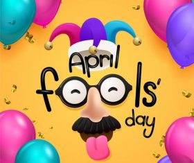 April fools day mask cartoon vector