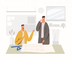 Architect working at office illustration vector