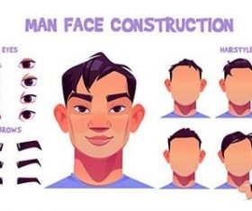 Asian man face construction avatar vector